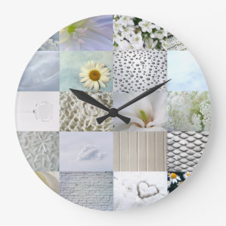 White photography collage large clock