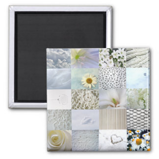 White photography collage magnet