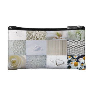 White photography collage makeup bag