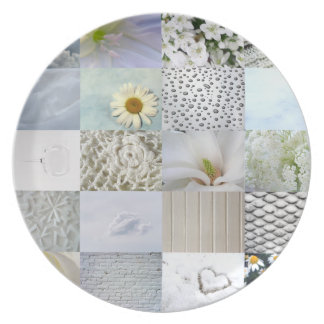 White photography collage melamine plate