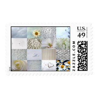 White photography collage postage stamp