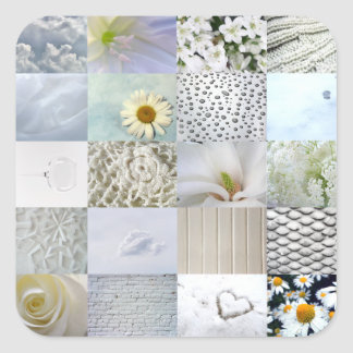 White photography collage square sticker