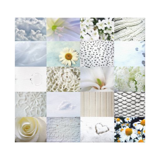 White photography collage stretched canvas prints