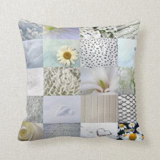 White photography collage throw pillows