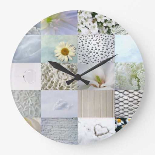 White photography collage wallclock