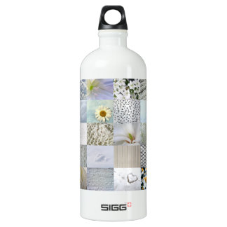 White photography collage water bottle