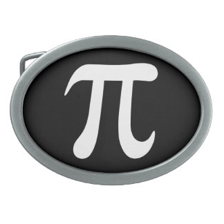 White pi symbol on black background belt buckle