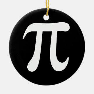 White pi symbol on black background ceramic ornament