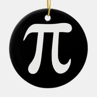 White pi symbol on black background ceramic ornament