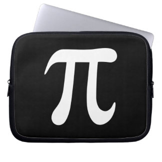 White pi symbol on black background computer sleeve