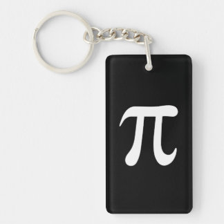 White pi symbol on black background keychain