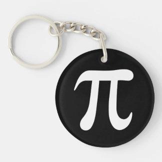 White pi symbol on black background Single-Sided round acrylic keychain