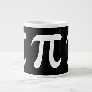White pi symbol on black background large coffee mug