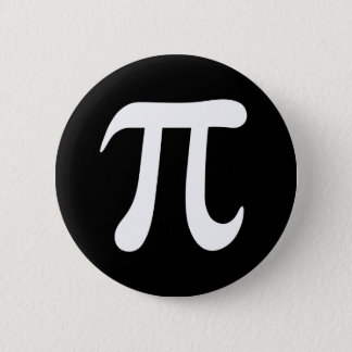 White pi symbol on black background pinback button
