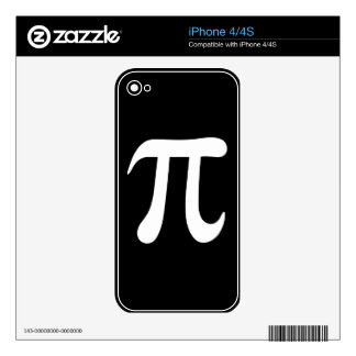White pi symbol on black background iPhone 4S skins