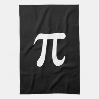 White pi symbol on black background towels