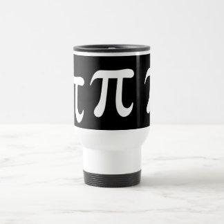 White pi symbol on black background travel mug