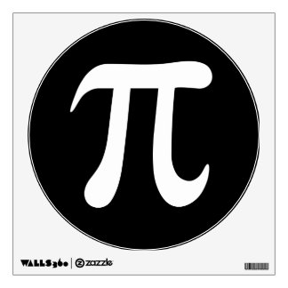 White pi symbol on black background wall decal