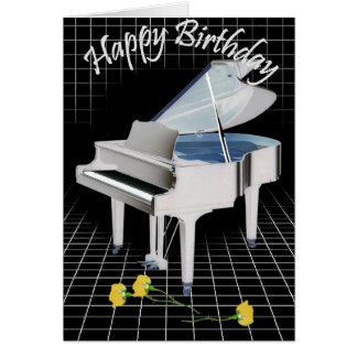 White piano and Roses Card