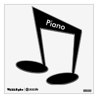 """White """"Piano"""" On Black Eighth Notes Wall Decal"""