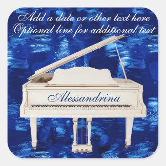 White Piano on Blue Multipurpose Custom Text Square Sticker