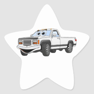 White Pick Up Truck Cartoon Star Sticker