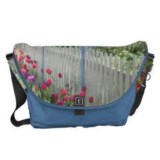 White Picket Fence of Tulips messenger bag