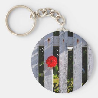White picket fence red rose keychain