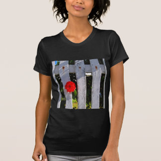 White picket fence red rose T-Shirt