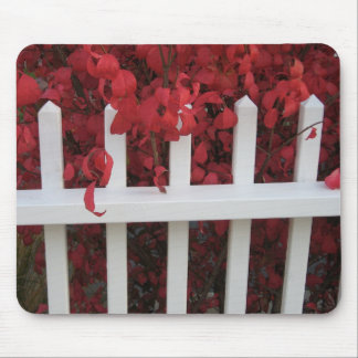white picket fence with autumn plants mouse pad