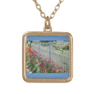 White Picket Fence With Tulips gold sq. necklace