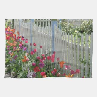 White Picket Fence With Tulips kitchen towel