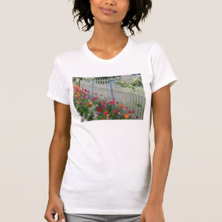 White Picket Fence With Tulips white t-shirt