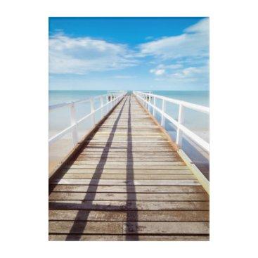 Beach Themed White pier on the ocean coast acrylic wall art