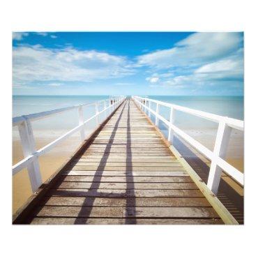 Beach Themed White pier on the ocean coast photo print