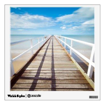 Beach Themed White pier on the ocean coast wall decal