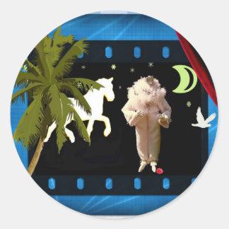 White pierrot with unicorn classic round sticker