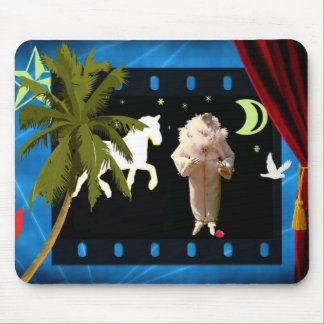 White pierrot with unicorn mouse pad
