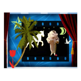White pierrot with unicorn postcard