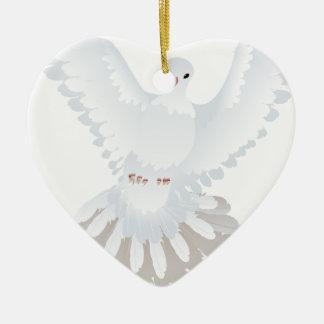 White Pigeon Illustration 2 Ceramic Ornament