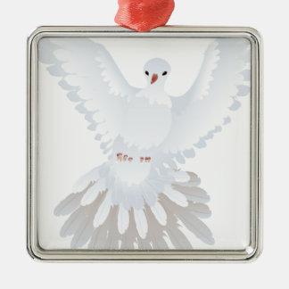 White Pigeon Illustration 2 Metal Ornament