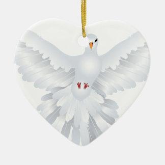 White Pigeon Illustration 3 Ceramic Ornament