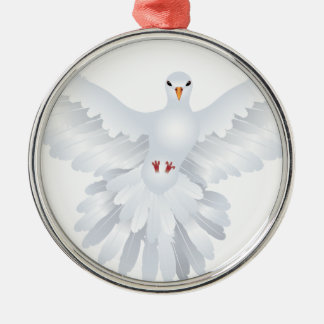 White Pigeon Illustration 3 Metal Ornament