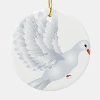 White Pigeon Illustration Ceramic Ornament
