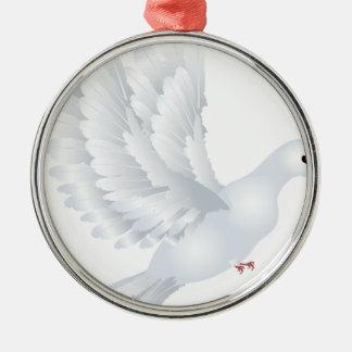 White Pigeon Illustration Metal Ornament