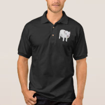 White Piglet Chewing Grass Polo Shirt