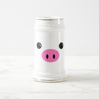 White Piglet Cute Animal Face Design Beer Stein