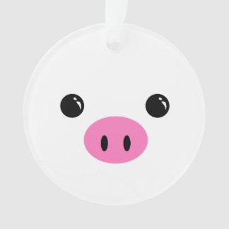 White Piglet Cute Animal Face Design Ornament