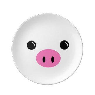 White Piglet Cute Animal Face Design Plate