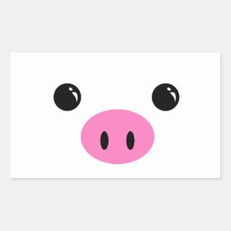 White Piglet Cute Animal Face Design Rectangular Sticker